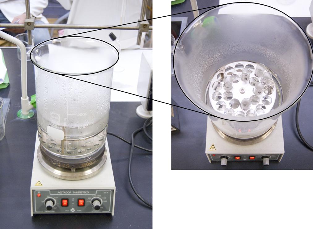 Reacción de isomerización de ácido maleico a ácido fumárico a 100 ºC